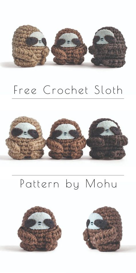 Do you like to make quick, near-instant gratification crochet projects? Do you love adorable amigurumi? Try this crochet Sloth pattern by Lauren Bergstrom! Crochet Sloth, Kawaii Crochet, Crochet Humor, Cute Crochet, Crochet Crafts, Crochet Projects, Crochet Amigurumi Free Patterns, Crochet Animal Patterns, Crochet Dolls