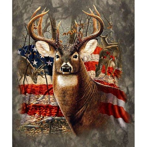 Diamond Painting Kits for Adults Full Drill- Diamond Art Kits for Beginners and Students with Adults' Paint-by-Number Kits for Wall Decoration, Gift, Relax (Flag Deer)