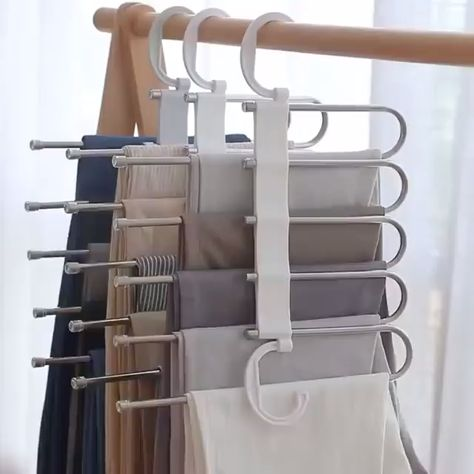 Stylish and Durable: Our metallic Pants Rack is durable, rustproof, and stylish. Space Saving Design: The adjustable storage rack can be hung steadily with two hooks or it can be hung vertically, it can hold up to 5 pairs of pants at one time and it will make your closet tidier.