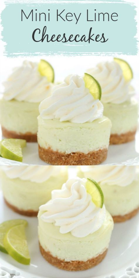 These Mini Key Lime Cheesecakes feature an easy homemade graham cracker crust topped with a smooth and creamy key lime cheesecake filling. Their size make them a perfect fit for parties! These mini key lime cheesecakes are the perfect dessert for any time Mini Desserts, Mini Cheesecake Recipes, Cupcake Recipes, Just Desserts, Baking Recipes, Delicious Desserts, Dessert Healthy, Mini Cheesecake Cupcakes, Key Lime Desserts