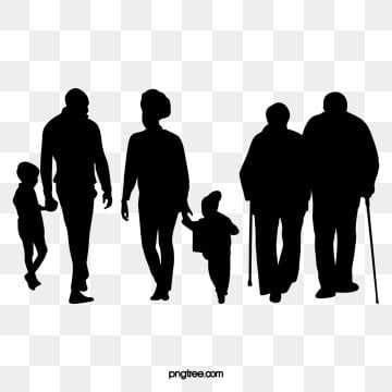Black Family Silhouette Figures Png And Psd Silhouette Family Silhouette People Clipart Black And White