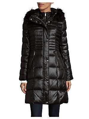 Karl Lagerfeld Paris Faux Fur Trimmed Hooded Down Coat Puffer Coat Down Coat Karl Lagerfeld Paris