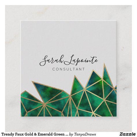 Trendy Faux Gold & Emerald Green Geometric Design Square Business Card