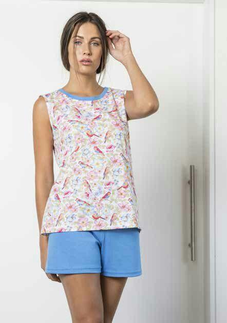 777cd9be364d Pijama mujer verano en tejido jersey 100% algodón, con pantalón corto liso,  camiseta