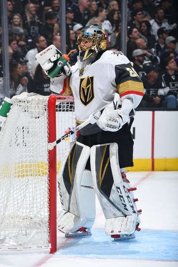 Los Angeles Ca April 15 Marc Andre Fleury 29 Of The Vegas Golden Knights Takes A Water Break In Golden Knights Hockey Vegas Golden Knights Golden Knights