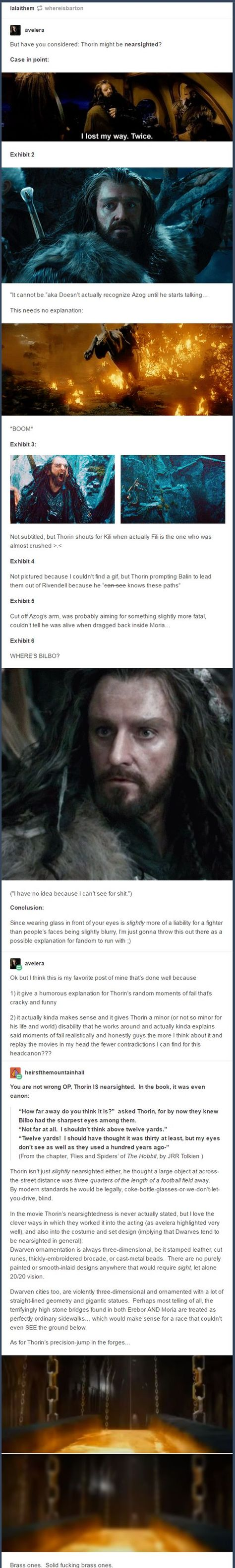 Thorin is nearsighted. I now need to reread the Hobbit :). Tauriel, Legolas, Lotr, Two And Half Men, O Hobbit, Hobbit Funny, J. R. R. Tolkien, Into The West, Thorin Oakenshield