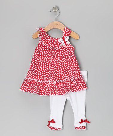 Take a look at this Red Polka Dot Butterfly Tunic & Leggings - Girls by Kids Headquarters on #zulily today!