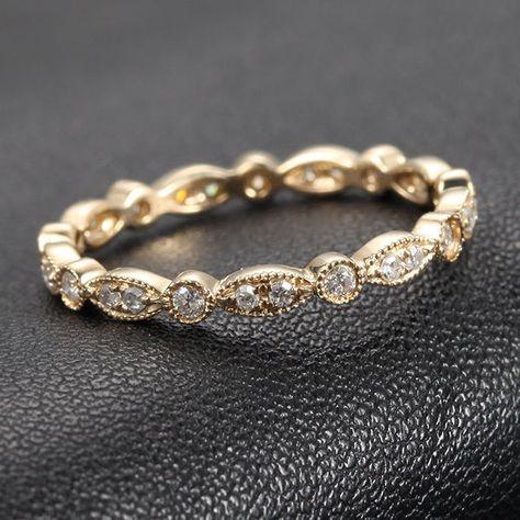 Art Deco Antique Style .32ct Diamond Milgrain 14K Yellow Gold Wedding Band Ring   Jewelry & Watches, Engagement & Wedding, Wedding & Anniversary Bands   eBay!