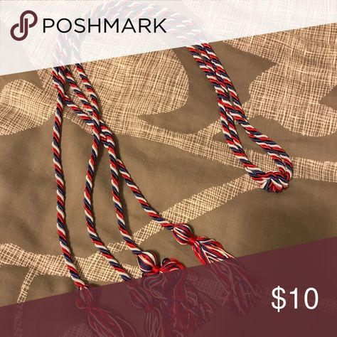 Red white and blue graduation cord Perfect for recognition for a club you were involved in college for your graduation! Double cord Other