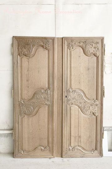 花とアカンサスのオーククロゼットペアドア パディントン アンティーク家具 ガラスドア 模様替え ドア