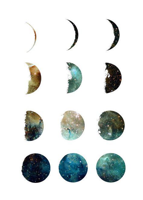 Moon phases galaxy art print, home wall decor, apartment wall art,