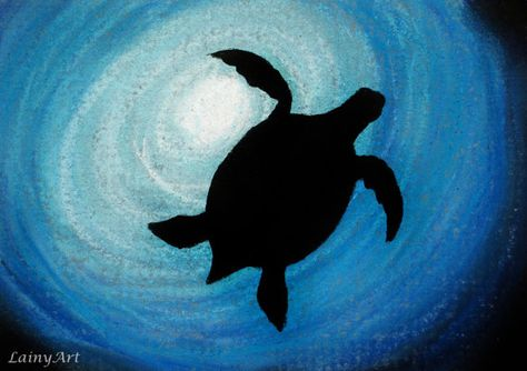 Sea Turtle Silhouette - ACEO Pastel Drawing - All proceeds to charity - blue, cobalt, shadow, ocean, sea, under water - DAY 255