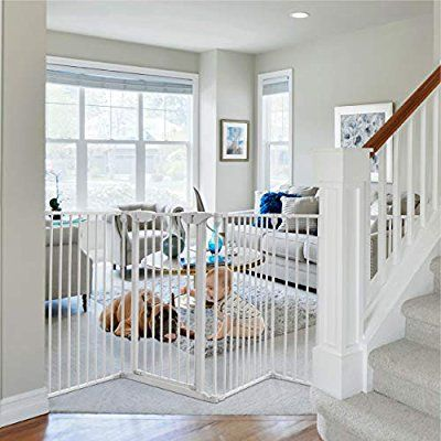 Amazon Com Costzon 150 Inch Wide Baby Safety Gate 6 Panel Fireplace Fence With Walk Through Door In Two Directio Baby Safety Gate White Paneling Baby Safety
