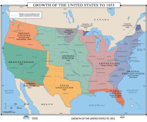 Universal Map U S History Wall Maps Growth Of U S To 1853 In 2021 World History Map History Wall Wall Maps