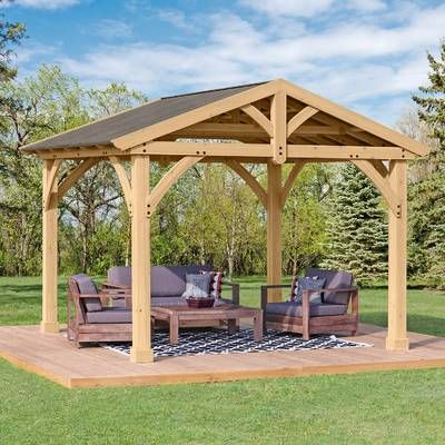 12 Ft W X 12 Ft D Solid Wood Patio Gazebo Outdoor Pergola Patio Gazebo Backyard Pavilion