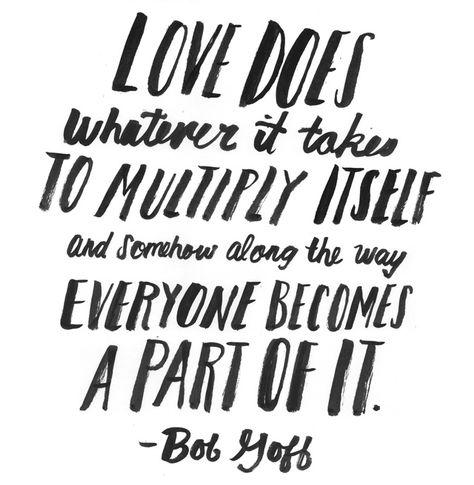love multiplies, bob goff // brush lettering