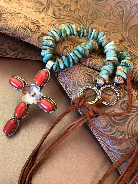Halskette Türkis mit Feder Necklace Turquiose Feather  Indianer Western