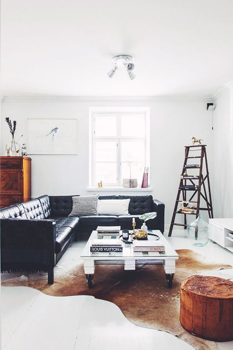 Laura Seppanen Styling I Love The Sleek Stylish Look Of A Black Leather Sofa And In Fact Had One My San Francisco Home For Long Time Them