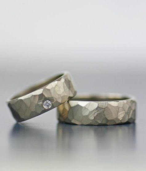 Please put your US ring size in the message box when checking out. I take sizes in 1/4 size increments. His/hers, hers/hers, his/his faceted wedding band set Simply stunning for men or women, these minimalist and modern rings incorporate timeless design with just a little edge. These bands are