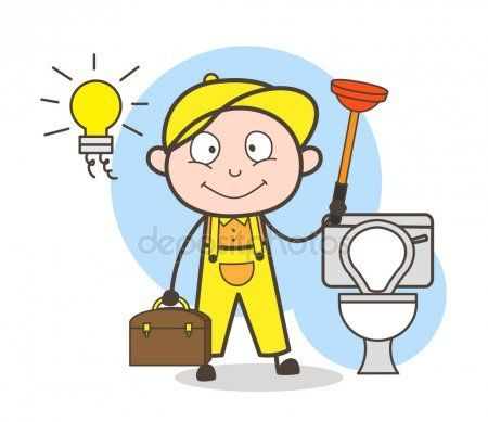 Plomero De Dibujos Animados Con Embolo Limpieza Bano Vector Ilustracion Tengo Una Amiga Prometo Qui Zero Soy Yo Que Cartoon Stock Illustration Character