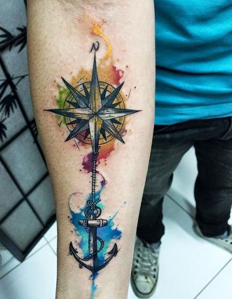 Colorful+Compass+Tattoo+with+Anchor+on+Arm