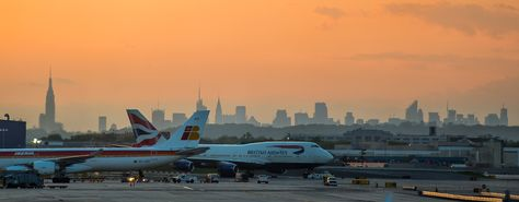 New York Skyline from JetBlue T-5 at sunset.