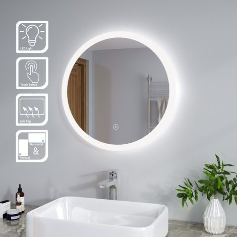 Elegant 600 X 600 Mm Modern Round Illuminated Led Bathroom Mirror Touch Sensor Demister In 2020 Led Mirror Bathroom Bathroom Mirror Bathroom Mirror Lights
