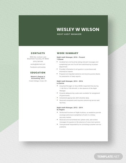 Night Audit Manager Resume Cv Template Word Doc Apple Mac Pages Cv Template Word Manager Resume Word Doc