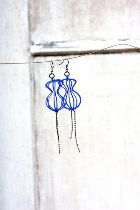 Bleu espace d'arachide boucles d'oreilles - ère atomique - Sputnik Birdcage - bijoux imprimé en 3d