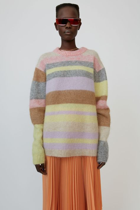Acne Studios lilac/yellow multi oversized sweater with colourful stripe pattern.