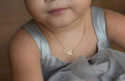 Personalized Name & Sideways Heart Baptism Necklace, Child Necklace in or Solid gold, Sterling Silver or Vermeil