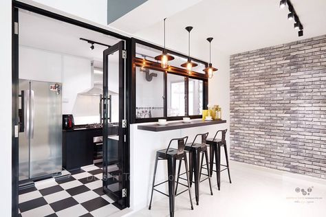 8 Ways to do a Semi-Open Kitchen in your HDB: Trending since 2014, black-framed glass walls arise from the industrial style. But it works even in a more contemporary setting. While not as clean-cut as frameless glass walls, they are great for providing a dramatic flair.