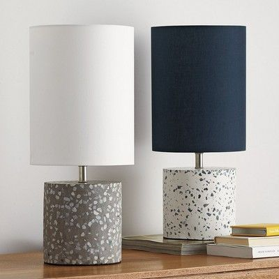 Urban-chic lighting with an industrial edge. This cement table lamp's sleek, sculptural base is constructed of color-flecked concrete. The Company Store Cement Table, Cement Art, Concrete Crafts, Concrete Projects, Concrete Light, Concrete Lamp, White Concrete, Polished Concrete, Beton Design