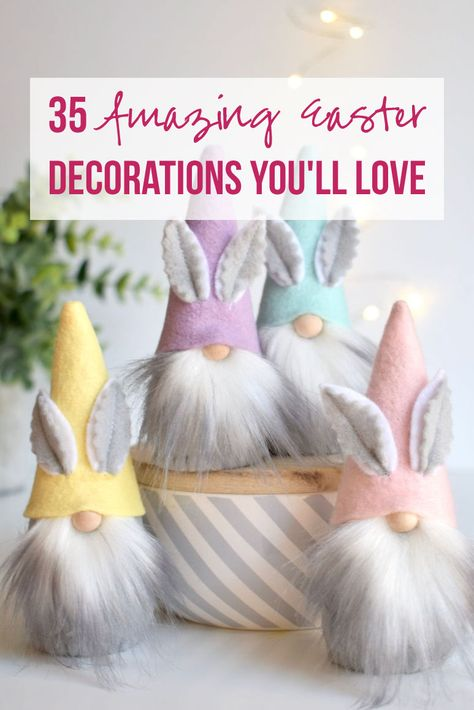 Home Decor Cozy 35 Amazing Easter Decorations You'll Love - Happily Ever After Etc. Decor Cozy 35 Amazing Easter Decorations You'll Love - Happily Ever After Etc. Easter Projects, Easter Crafts For Kids, Easter Dyi, Easter Ideas, Easter Garland, Easter Wreaths, Spring Crafts, Holiday Crafts, Diy Osterschmuck