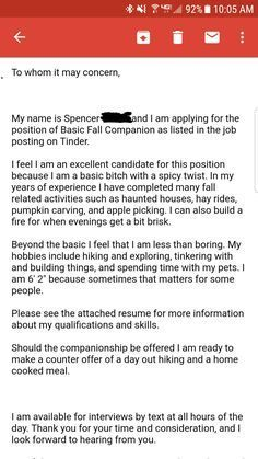 He Even Included A Resume And Everything Tinder Effort