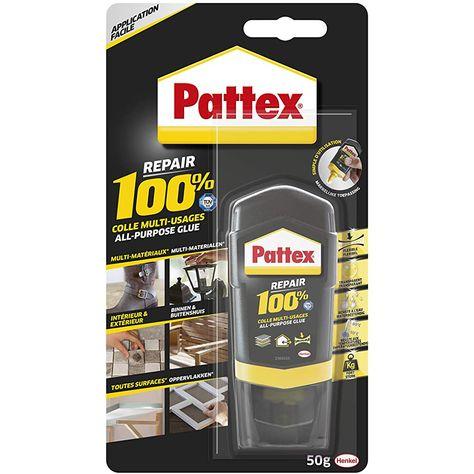 Pattex Repair 100% Colle Multi-usages colle forte transparente pour tous types de travaux à lintérieur et lextérieur colle liquide multi- matériaux 50 g