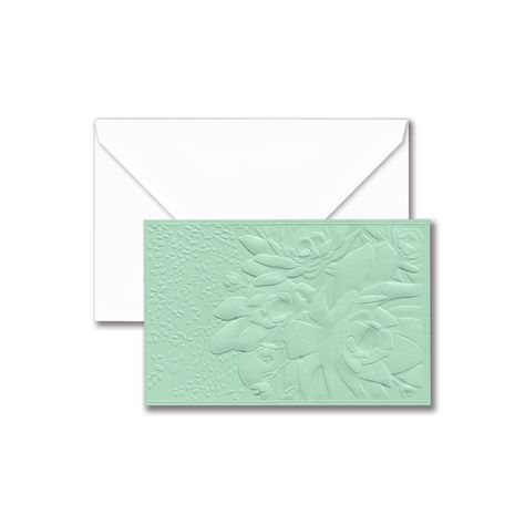 Mint Succulent Embossed Note: Embossed on heavy-weight mint paper, this note is both tactile and modern. A smart choice for sunrise missives by the beach or a post-shower thank you alike.