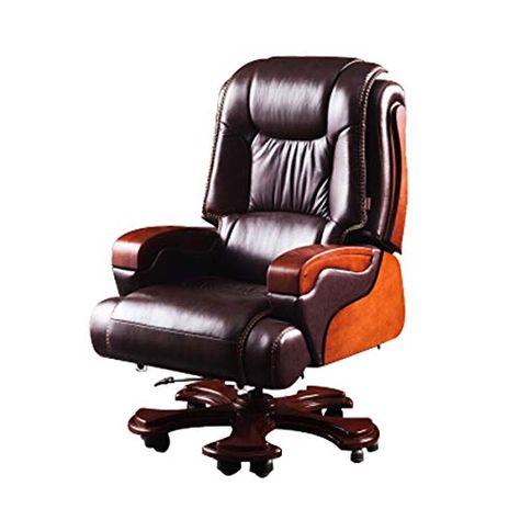 Cqiang Boss Chair Leather Computer Chair Reclining Office Chair President Executive Chair 10 Round Pu Footrest Computer Chair Reclining Office Chair Chair