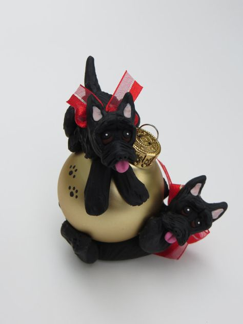Scottish Terriers Polymer Clay Christmas Ornament Playing Scottie Dogs