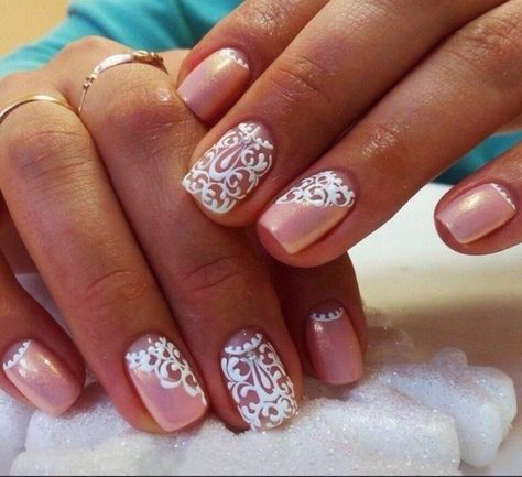 Beautiful delicate nails, Ideas of gentle nails, Lace nails, Lacy nails, Nacre nails, Nails with curls, Pale pink nails, Pearl nails