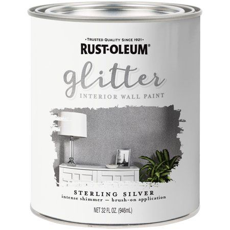 Rust Oleum Sterling Silver Glitter Interior Wall Paint Qt