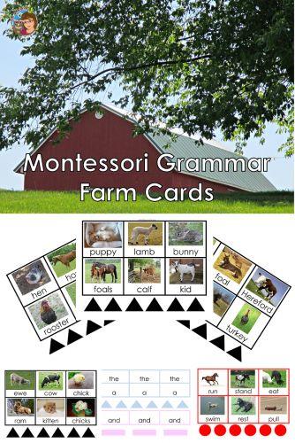 Montessori Grammar Farm Printable Cards