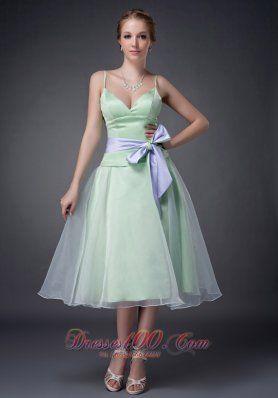 Sweet Apple Green A-line Straps Mother Of The Bride Dress Tea-length Organza Bowknot Dama Dresses - US$97.46  http://www.dresses100.com/new-arrival-mother-dresses_c25/2  alternative clearance tea length wedding dress for brides mother