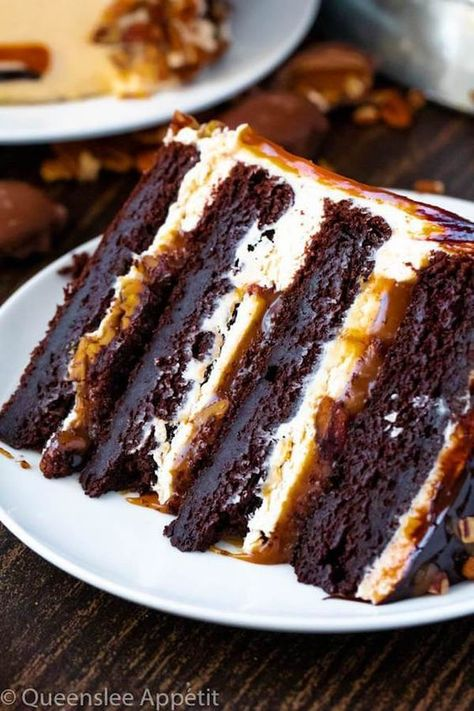 This Turtle Chocolate Layer Cake starts with rich, decadent and moist chocolate . - This Turtle Chocolate Layer Cake starts with rich, decadent and moist chocolate cake layers that ar - Layer Cake Recipes, Best Cake Recipes, Sweet Recipes, Dessert Recipes, Dinner Recipes, Cake Recipes From Scratch, Four Layer Cake Recipe, Coke Recipes, 2 Layer Cakes