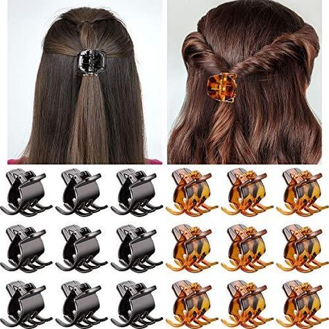 Hair Claw Clips Medium Size Hair Claws 1.3 Inch Hair Jaw Clip Claw Clip Grip for Women Girls Medium or Thick Hair (18 Pieces, Brown and Black) - Brown and Black