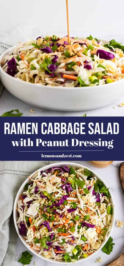Simple and delicious, this Ramen Cabbage Salad packs in all the crunch! Chopped cabbage, ramen noodles peanuts and more make this crisp salad one that everyone will gobble up. An easy peanut dressing to top it all off! #choppedsalad #cabbagesalad #ramen #ramensalad #simplerecipe