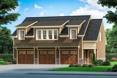 Plan 360074dk Craftsman Carriage House Plan With 3 Car Garage In 2020 Carriage House Plans Craftsman House Plan House Plans