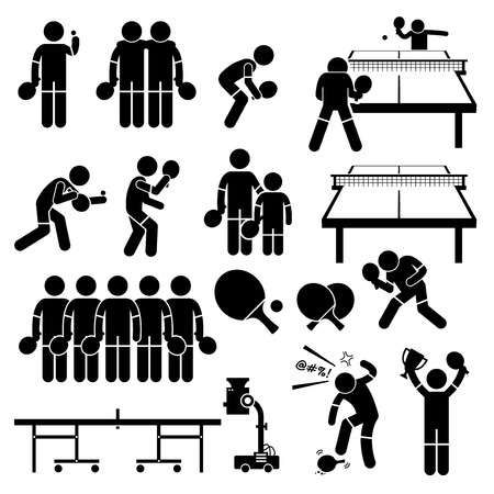 Table Tennis Player Actions Poses Stick Figure Pictogram Icons Table Tennis Pictogram Stick Figures