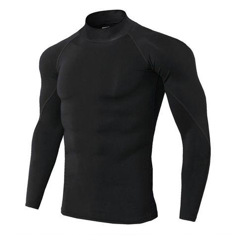 Compre Nuevo Cuello Alto Camisa Para Correr De Los Hombres De Manga Larga Ropa Deportiva De Fitness C En 2020 Camisas Para Correr Camisa Deportiva Camisetas Deportivas