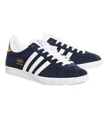 uk availability 24eb0 89784 Adidas Gazelle Og Trainers Night Indigo White Metallic Gold - Hers trainers  £67